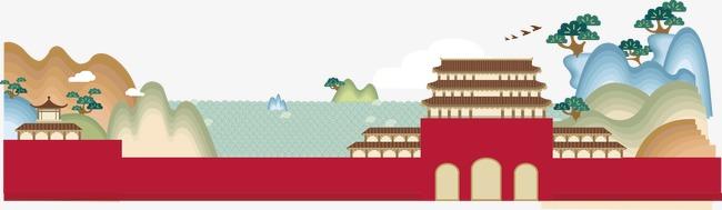卡通扁平中国古代建筑