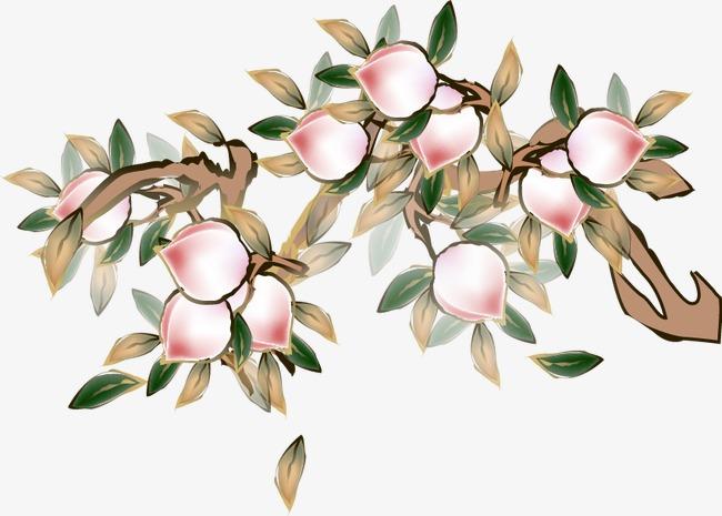 卡通手绘桃树桃子