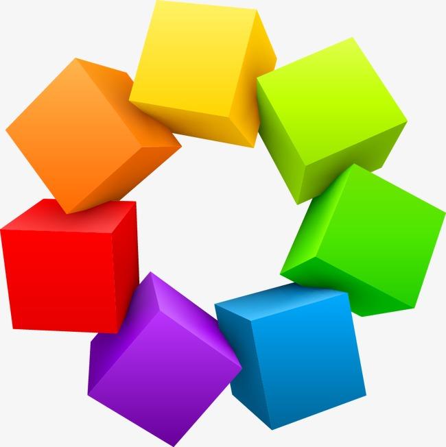 抽象炫彩几何方块