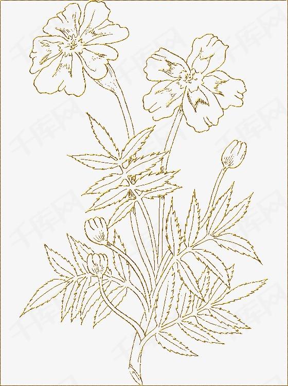 金色手绘花朵金色手绘花朵简笔画-金色手绘花朵素材图片免费下载 高