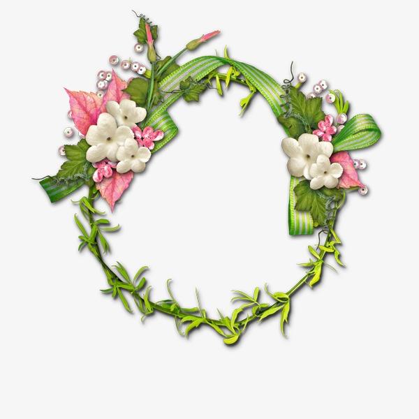 花环植物透明边框