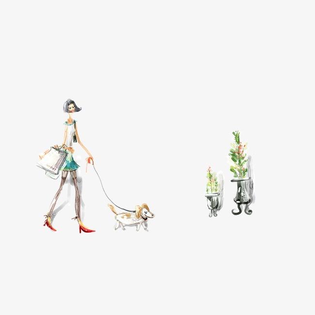 手绘 背景 淡色 水彩 美女 狗狗