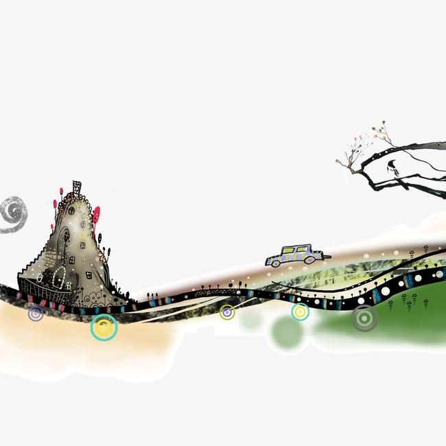 卡通 手绘 水彩 桥 古树