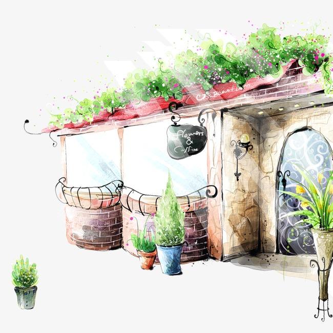 卡通手绘城市街景素材图片免费下载 高清装饰图案psd 千库网 图片编图片