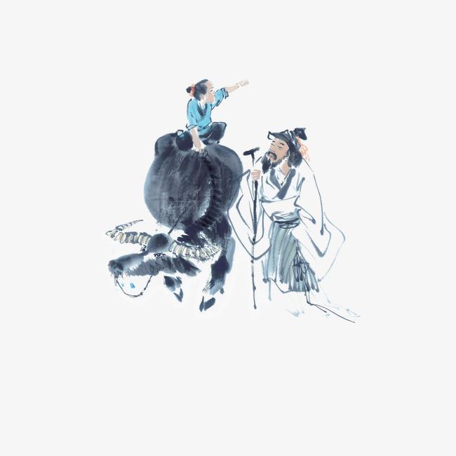 清明节牧童骑牛指路【高清节日素材png素材】-90设计图片