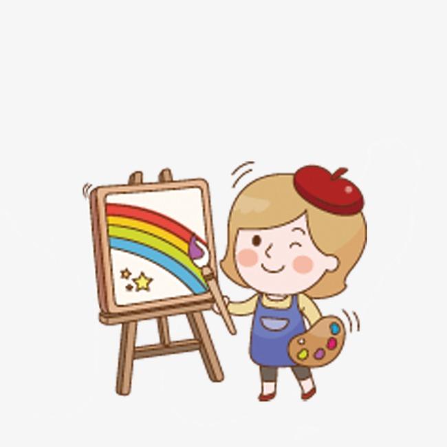 画画的小女孩