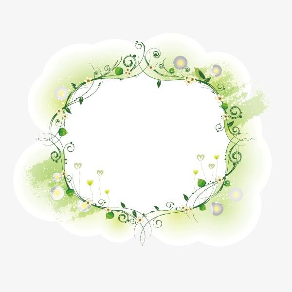 绿色花纹边框
