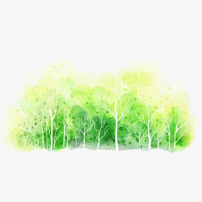 手绘卡通树林