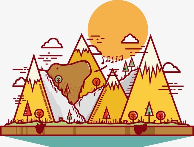 卡通手绘山日出