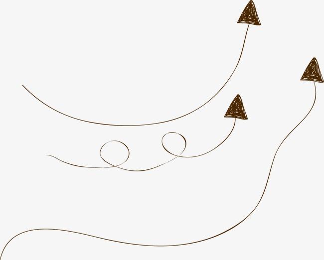 卡通手绘线条箭头png素材-90设计