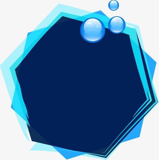 蓝色梦幻泡泡多边形边框