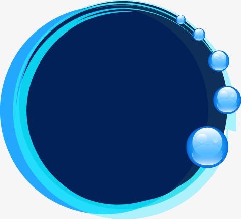 蓝色梦幻泡泡圆形边框