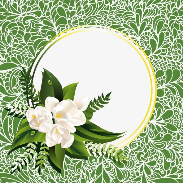 背景素材 其他 > 白色纹理绿色背景茉莉花边框