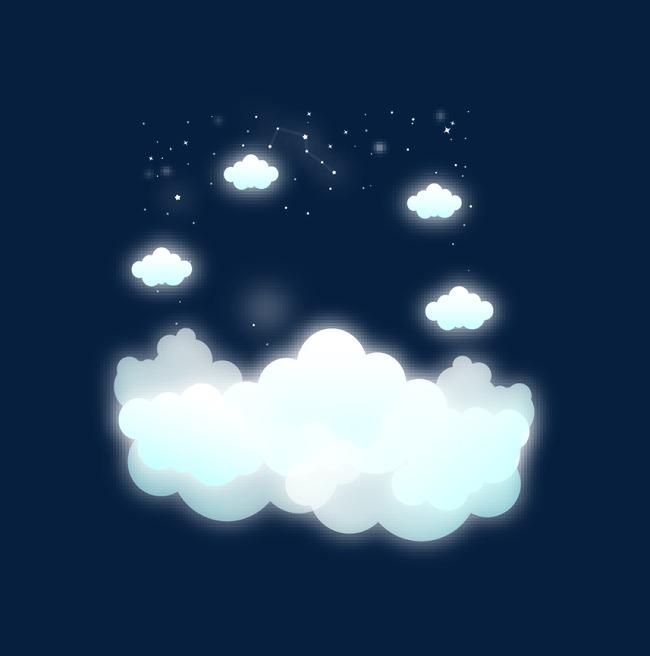 卡通梦幻云朵白云png素材-90设计