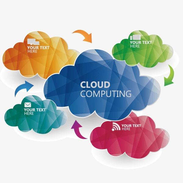 云朵 扁平化 菱形 商务信息 七彩云朵