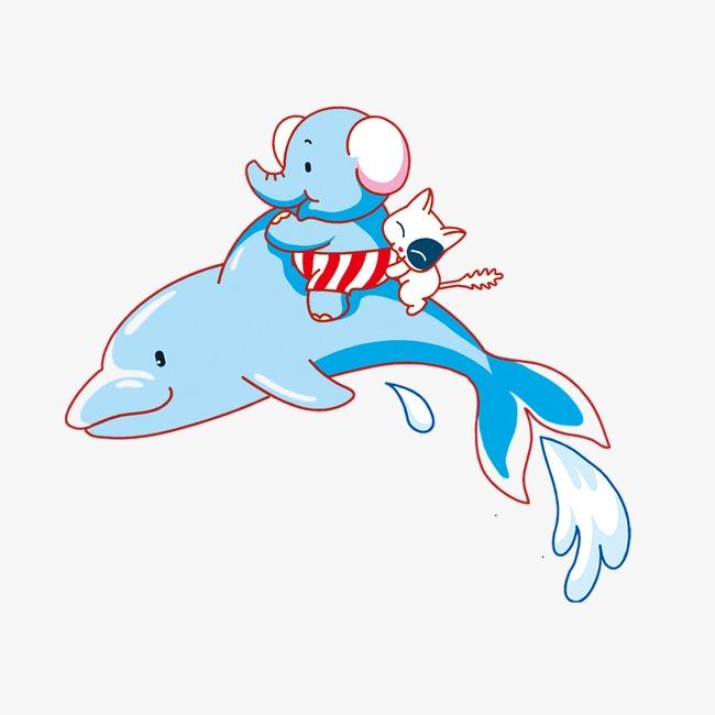 卡通鲸鱼大象图片