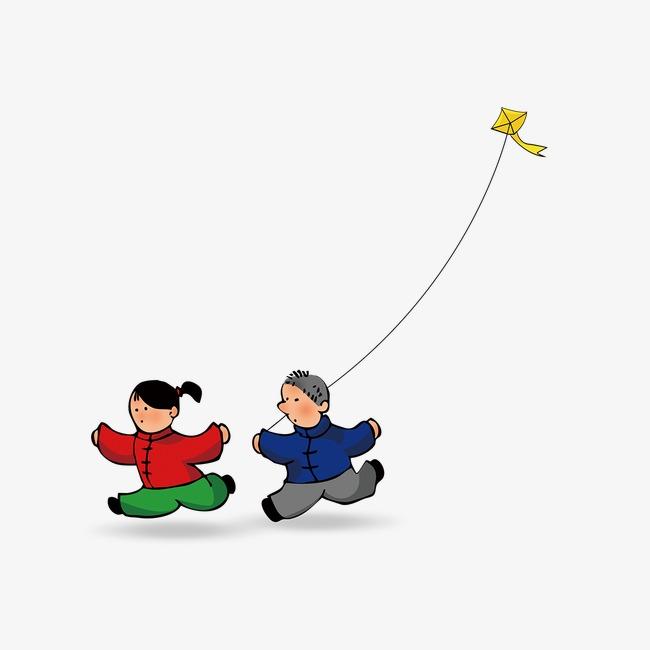手绘卡通小孩放风筝素材图片免费下载 高清装饰图案png 千库网 图片图片