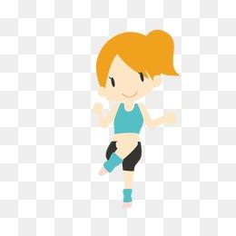 运动 健身 女孩 卡通图片