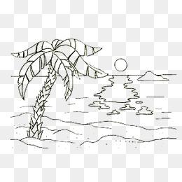 免费下载 夏日海滩简笔画图片大全 千库网png