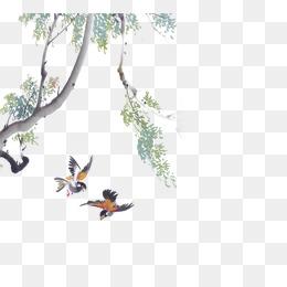 中国风 水墨画 png 柳树图片
