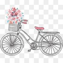 手绘线条式自行车