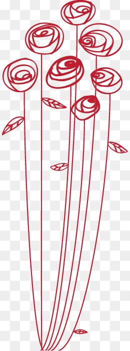 手绘红色线圈花朵图案