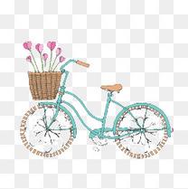 青色手绘单车素材