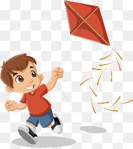 矢量图 风筝 小男孩 放风筝图片