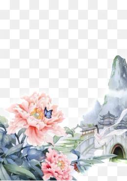唯美古风水彩插画素材图片免费下载 高清卡通手绘png 千库网 图片编号3592982图片