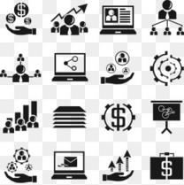 扁平简洁的商务金融办公ppt常用纯色图标