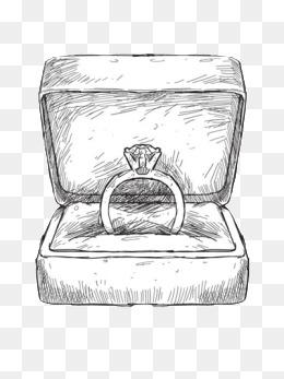 素描手绘戒指矢量图