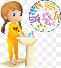 洗手的矢量女孩