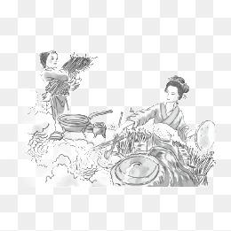 古代美女做饭图