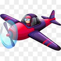 矢量卡通紫色战斗机