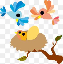 矢量鸟窝与小鸟