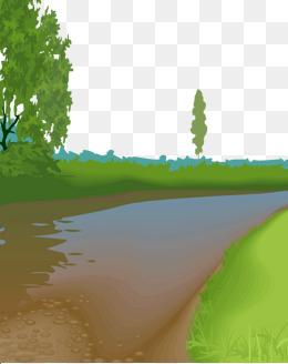 卡通手绘精致草地河流风景