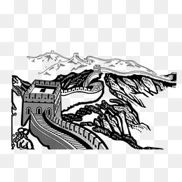 免费下载 长城简笔画图片大全 千库网png