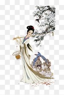黛玉葬花素材图片免费下载 高清卡通手绘png 千库网 图片编号6596717