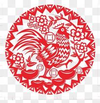 2017圆形鸡的剪纸画