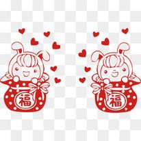 新年可爱福袋春节素材矢量