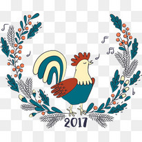 矢量2017鸡年装饰花卉