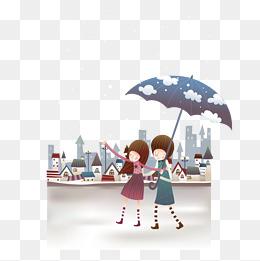 下雨天打伞的凹凸女生内裤小学女孩图片