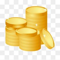黄金钱币一堆金钱