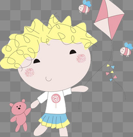 卡通简笔画 小女孩 放风筝图片