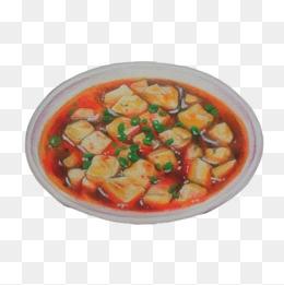 麻婆豆腐手绘画素材图片