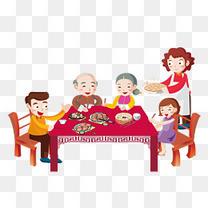 除夕团圆宴一家人免抠素材 俯拍聚餐