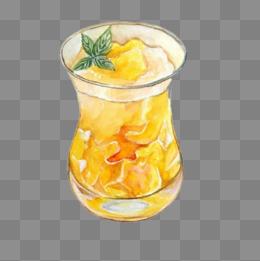 芒果冰沙手绘画素材图片