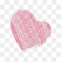 粉色手绘线条桃心
