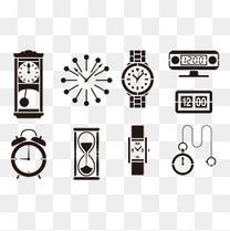 各类钟表剪影EPS矢量素材,