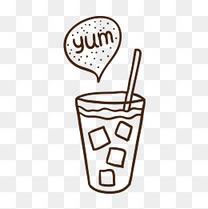 奶茶饮品线稿
